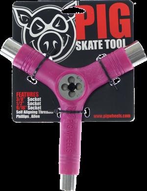 PIG SKATE TOOL-NEON PINK tri-socket/threader