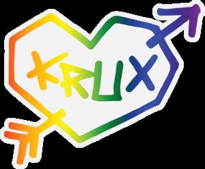 KRUX RAINBOW HEART DECAL 3.25