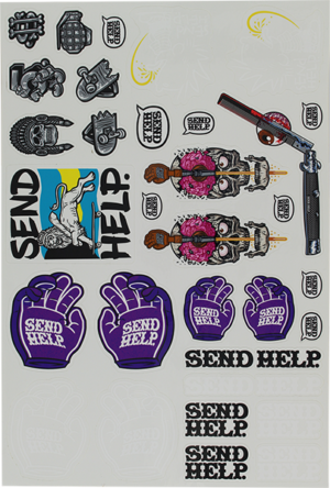 SEND HELP 34/PC STICKER SHEET ASSORTED DECALS