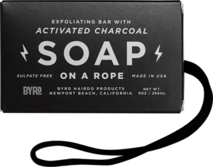 BYRD SOAP ON ROPE DAILY CLEANSING BAR CHARCOAL 9oz