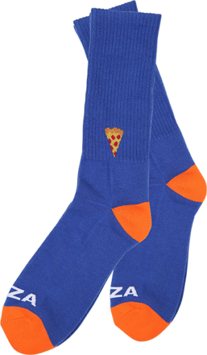 PIZZA EMOJI CREW SOCKS BLUE/ORG 1pr