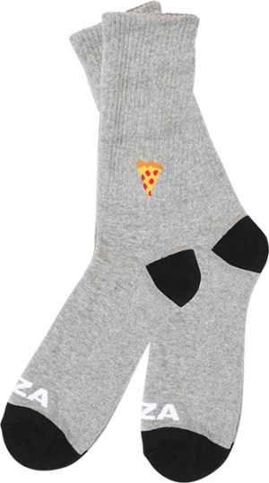 PIZZA EMOJI CREW SOCKS GREY/BLK 1pr