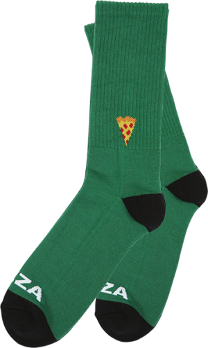 PIZZA EMOJI CREW SOCKS GREEN/BLK 1pr