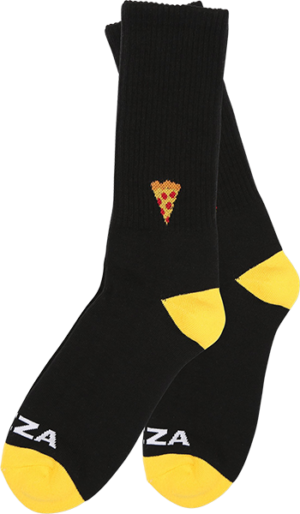 PIZZA EMOJI CREW SOCKS BLACK/YEL 1pr