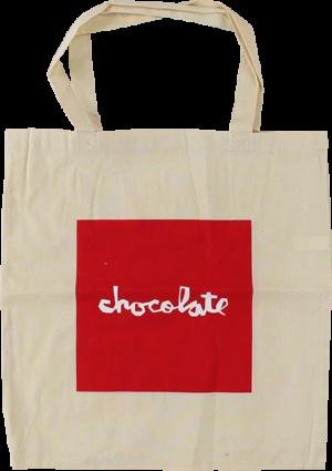 Chocolate RED SQUARE TOTE BAG NATURAL