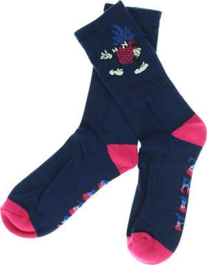 HAPPY HR DANCING P CREW SOCKS NAVY/PINK