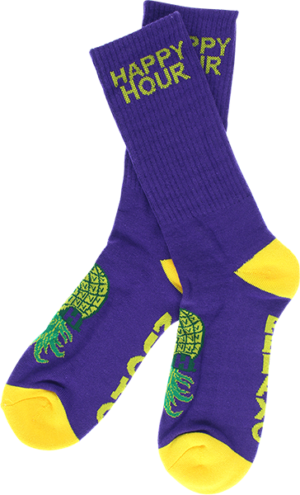 HAPPY HR MUCHO RELAXO CREW SOCKS GOLD/PUR