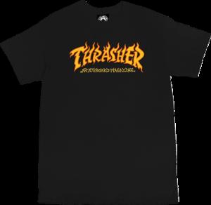 THRASHER FIRE LOGO SS BLACK