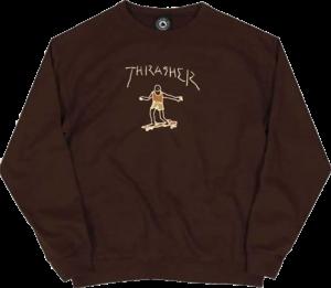 THRASHER GONZ LOGO CREW/SWT DK.CHOCOLATE