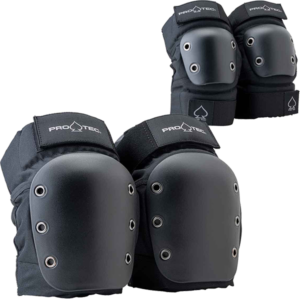PROTEC KNEE/ELBOW OPEN BACK COMBO SET L-BLACK