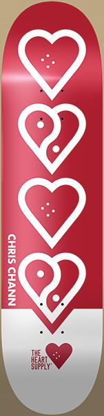 HEART SUPPLY CHANN BALANCE DECK-8.0 WHT/RED