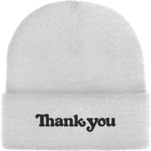 THANK YOU CENTER BEANIE WHITE