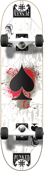 PUNKED ACE OF SPADES COMPLETE-7.75 WHITE