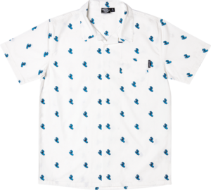 Santa Cruz SCREAMING HAND PARTY BUTTON-UP SS S-WHITE
