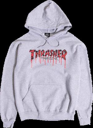 THRASHER BLOOD DRIP HD/SWT ASH GREY
