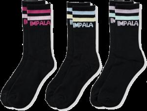 IMPALA 3PK SOCKS STRIPE BLK/ASST PASTELS
